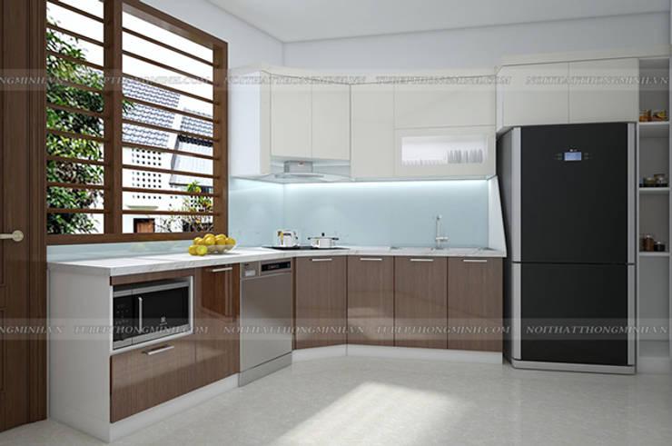 Ảnh thiết kế 3D tủ bếp acrylic chữ L nhà anh Toản tại Lạng Sơn:  Kitchen by Nội thất Hpro