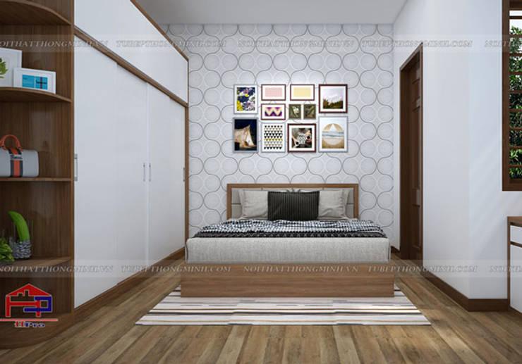 Ảnh thiết kế nội thất phòng ngủ master nhà anh Toản ở Lạng Sơn bản 3D:  Bedroom by Nội thất Hpro