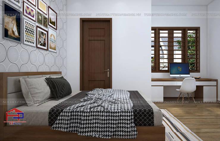 Ảnh 3D thiết kế nội thất phòng ngủ master nhà anh Toản ở Lạng Sơn:  Bedroom by Nội thất Hpro
