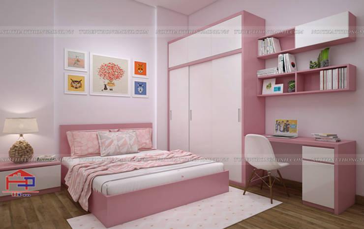 Ảnh 3D thiết kế phòng ngủ bé gái nhà anh Toản ở Lạng Sơn:  Bedroom by Nội thất Hpro