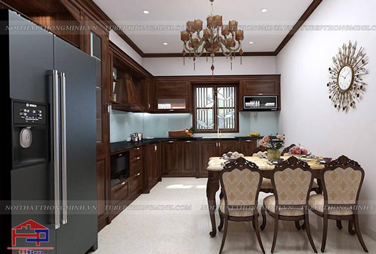 Ảnh thiết kế 3D tủ bếp gỗ óc chó nhà chị Hiền ở Hưng Yên:  Kitchen by Nội thất Hpro