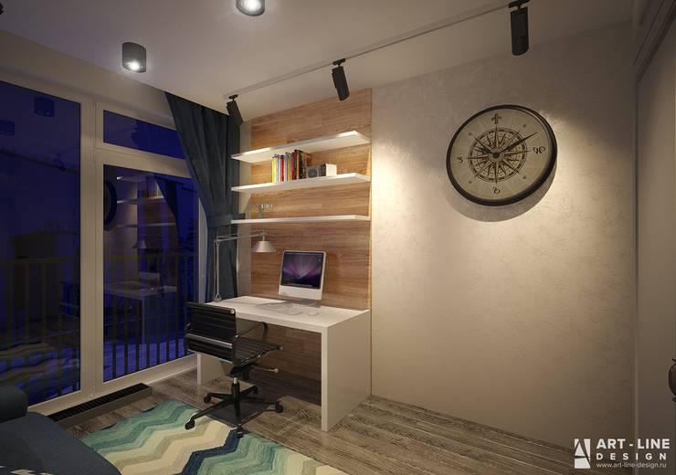Двухуровневая квартира в современном стиле Рабочий кабинет в стиле минимализм от Art-line Design Минимализм