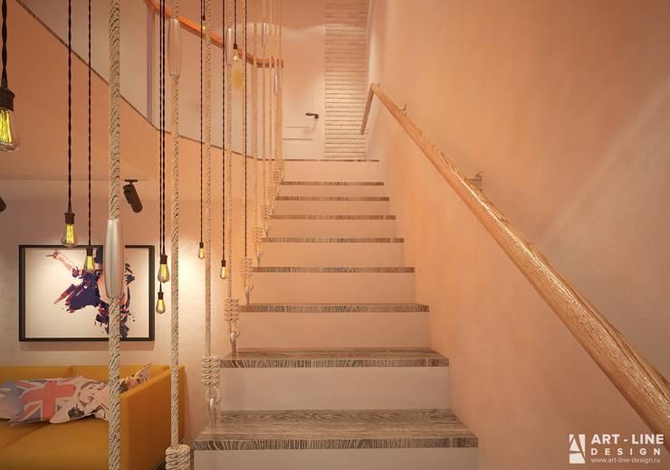 Лестница на второй этаж от Art-line Design Лофт