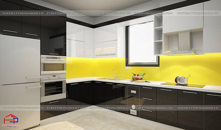 Ảnh thiết kế 3D tủ bếp acrylic bóng gương cao cấp nhà chị Hiền ở Nam Định:  Kitchen by Nội thất Hpro