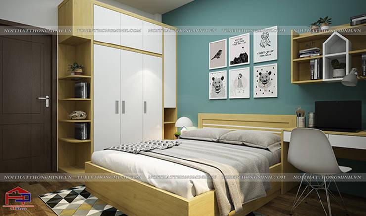 Ảnh thiết kế nội thất phòng ngủ cho bé gỗ melamine An Cường nhà chị Hiền tại Nam Định:  Bedroom by Nội thất Hpro