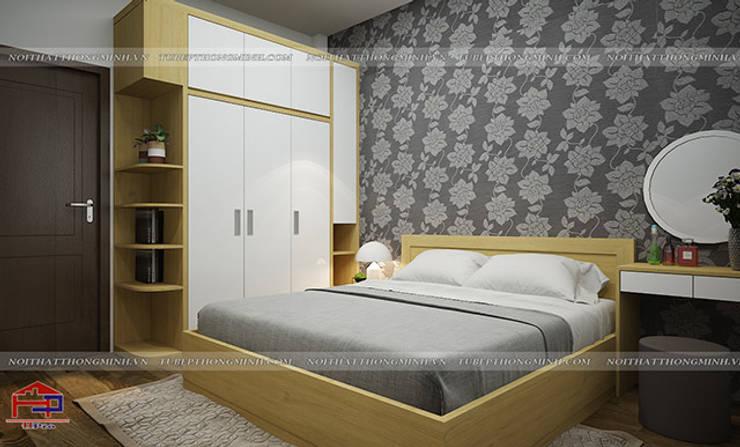 Ảnh thiết kế nội thất phòng ngủ master nhà chị Hiền ở Xuân Trường Nam Định:  Bedroom by Nội thất Hpro