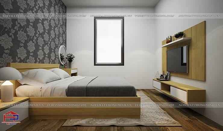 Ảnh thiết kế nội thất phòng ngủ master gỗ công nghiệp melamine An Cường nhà chị Hiền ở Nam Định:  Bedroom by Nội thất Hpro