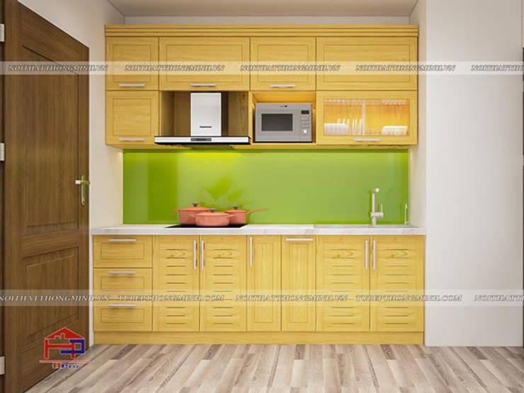 Ảnh thiết kế 3D tủ bếp gỗ sồi nga chữ I nhà chị Quỳnh ở Ngoại Giao Đoàn:  Kitchen by Nội thất Hpro