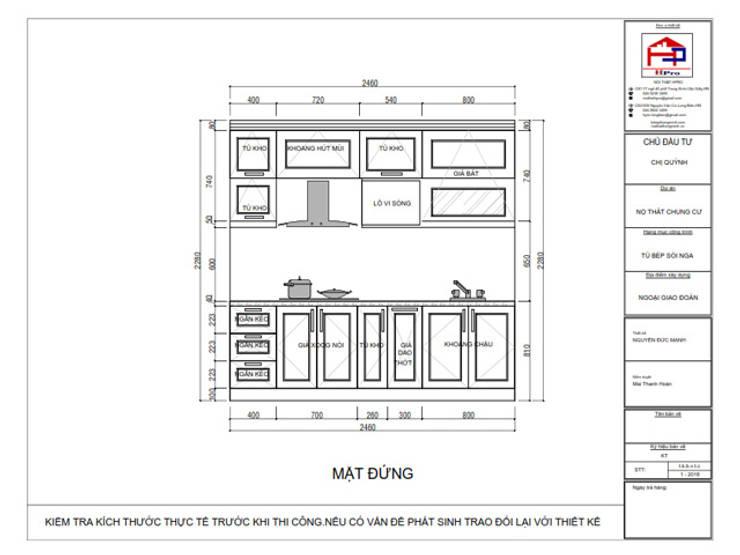 Bản vẽ chi tiết tủ bếp gỗ sồi nga kết hợp MDF sơn trắng nhà chị Quỳnh ở Ngoại Giao Đoàn - Mặt đứng:  Kitchen by Nội thất Hpro