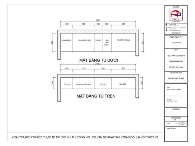 Bản vẽ chi tiết tủ bếp gỗ sồi nga kết hợp MDF sơn trắng nhà chị Quỳnh ở Ngoại Giao Đoàn - Mặt bằng:  Kitchen by Nội thất Hpro