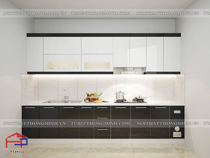 Ảnh thiết kế 3D tủ bếp acrylic chữ I nhà chị Tuyết ở Phú Thọ:  Kitchen by Nội thất Hpro