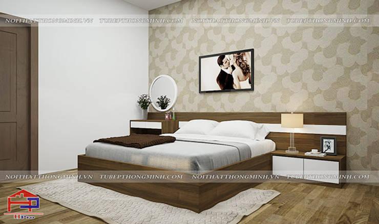 Ảnh thiết kế nội thất phòng ngủ master nhà chị Tuyết ở Phú Thọ:  Bedroom by Nội thất Hpro