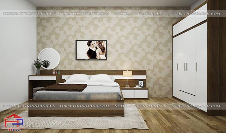 Ảnh 3D thiết kế nội thất phòng ngủ master nhà chị Tuyết ở Phú Thọ:  Bedroom by Nội thất Hpro