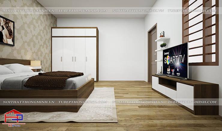 Ảnh 3D thiết kế nội thất phòng ngủ master cho vợ chồng nhà chị Tuyết ở Phú Thọ:  Bedroom by Nội thất Hpro