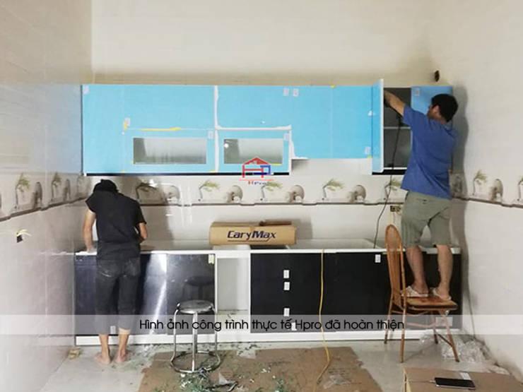 Thi công bộ tủ bếp acrylic cho nhà chị Tuyết ở Phú Thọ:  Kitchen by Nội thất Hpro