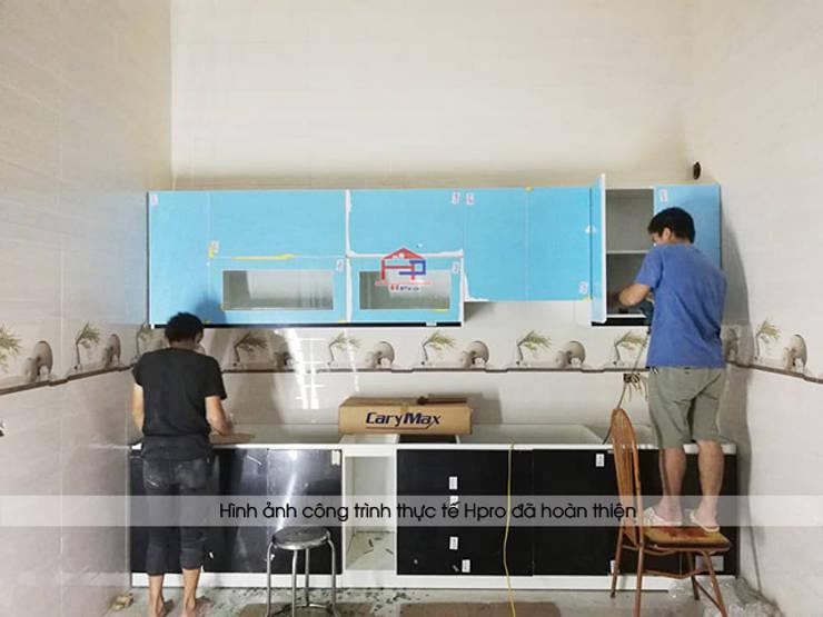 Tiến hành thi công bộ tủ bếp acrylic cho nhà chị Tuyết ở Phú Thọ:  Kitchen by Nội thất Hpro