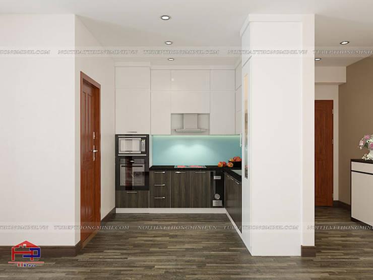 Ảnh thiết kế 3D tủ bếp acrylic kết hợp laminate nhà anh Điệp ở Tố Hữu:  Kitchen by Nội thất Hpro