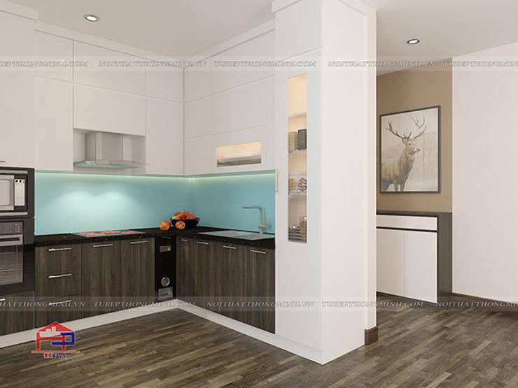 Ảnh thiết kế 3D tủ bếp acrylic kết hợp laminate chữ L nhà anh Điệp ở Tố Hữu:  Kitchen by Nội thất Hpro