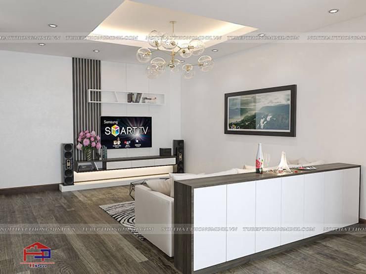 Ảnh 3D thiết kế nội thất phòng khách gỗ công nghiệp melamine nhà anh Điệp ở Tố Hữu:  Living room by Nội thất Hpro