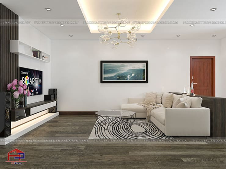 Ảnh 3D thiết kế nội thất phòng khách nhà anh Điệp ở Tố Hữu:  Living room by Nội thất Hpro
