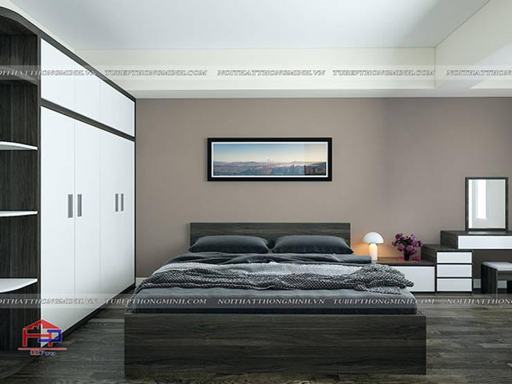 Ảnh 3D thiết kế nội thất phòng ngủ master nhà anh Điệp ở Tố Hữu:  Bedroom by Nội thất Hpro