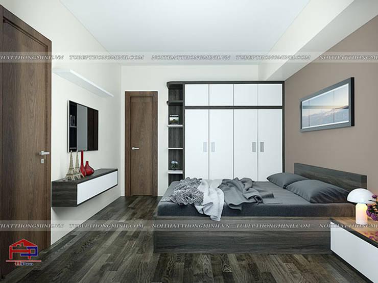Ảnh 3D thiết kế nội thất phòng ngủ master nhà anh Điệp ở Tố Hữu - view 2:  Bedroom by Nội thất Hpro