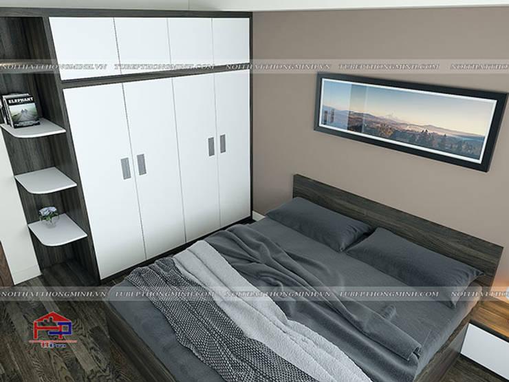 Ảnh 3D thiết kế nội thất phòng ngủ master nhà anh Điệp ở Tố Hữu - view 3:  Bedroom by Nội thất Hpro