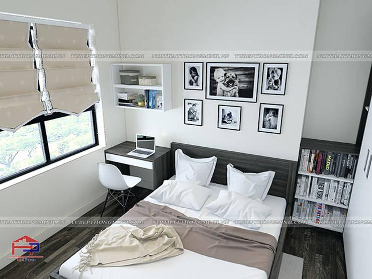 Ảnh 3D thiết kế nội thất phòng ngủ cho bé nhà anh Điệp ở Tố Hữu - view 2:  Bedroom by Nội thất Hpro