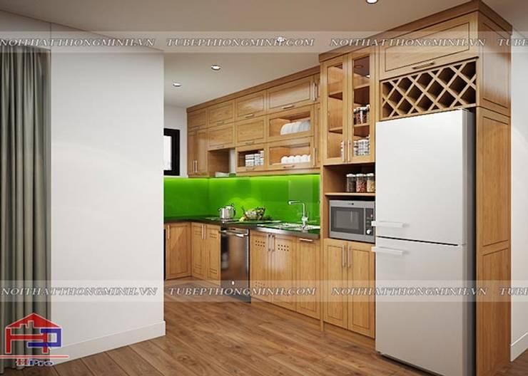 Ảnh 3D thiết kế tủ bếp gỗ sồi mỹ nhà chị Lê ở Định Công:  Kitchen by Nội thất Hpro