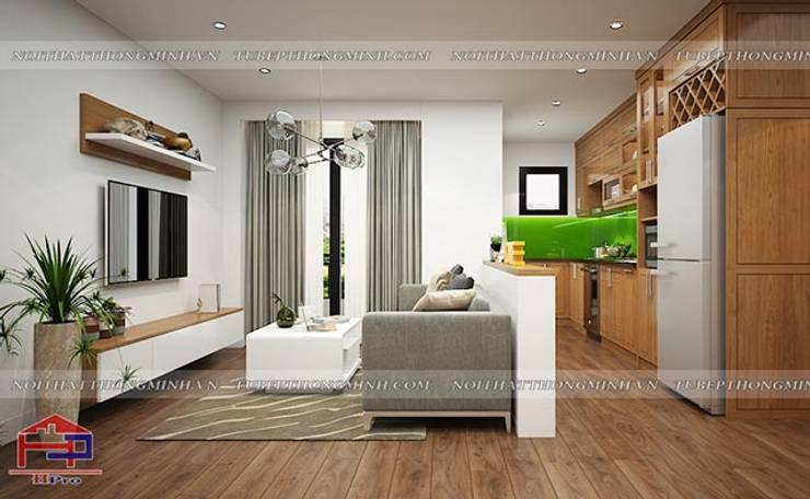 Ảnh 3D thiết kế nội thất phòng khách nhà chị Lê ở Định Công:  Living room by Nội thất Hpro