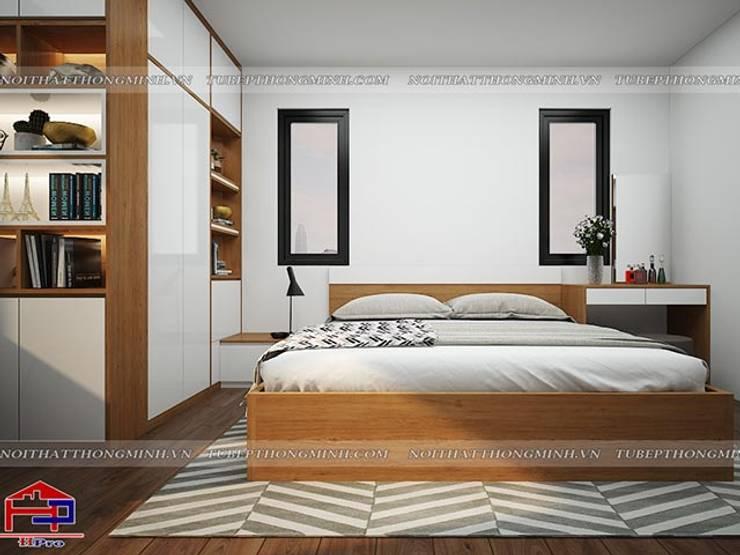 Ảnh 3D thiết kế nội thất phòng ngủ master nhà chị Lê ở Định Công:  Bedroom by Nội thất Hpro