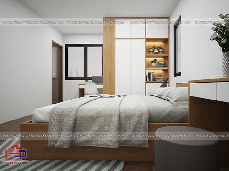 Ảnh 3D thiết kế nội thất phòng ngủ master nhà chị Lê ở Định Công - view 2:  Bedroom by Nội thất Hpro