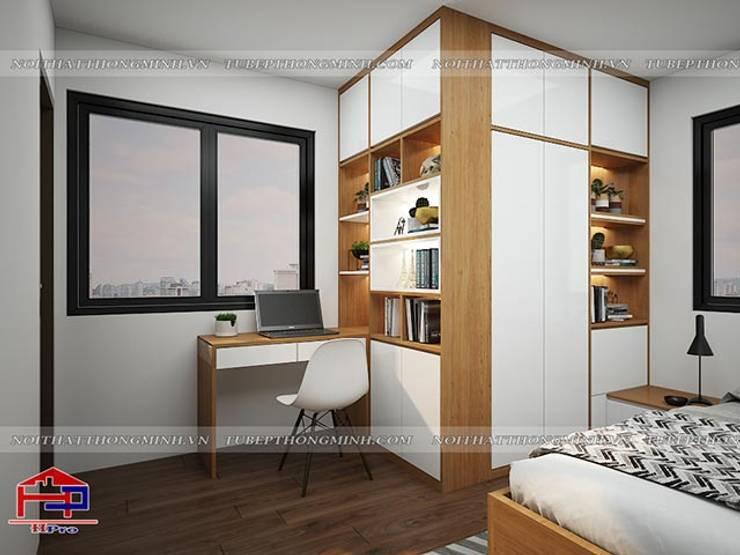 Ảnh 3D thiết kế nội thất phòng ngủ master nhà chị Lê ở Định Công - view 3:  Bedroom by Nội thất Hpro