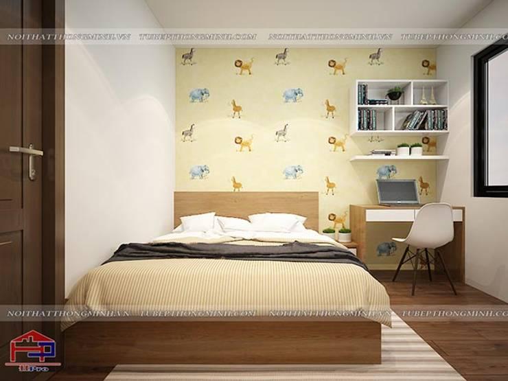 Ảnh 3D thiết kế nội thất phòng ngủ bé gái nhà chị Lê ở Định Công:  Bedroom by Nội thất Hpro