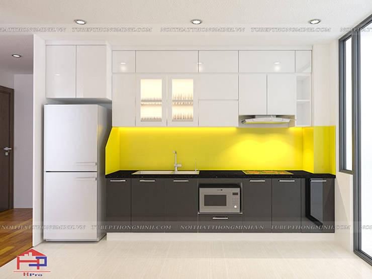 Ảnh thiết kế 3D tủ bếp acrylic chữ I nhà anh Thư ở HD Mon:  Kitchen by Nội thất Hpro