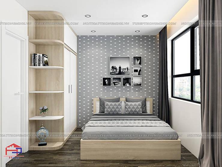 Ảnh 3D thiết kế nội thất phòng ngủ master gỗ công nghiệp melamine An Cường nhà anh Thư ở HD Mon:  Bedroom by Nội thất Hpro