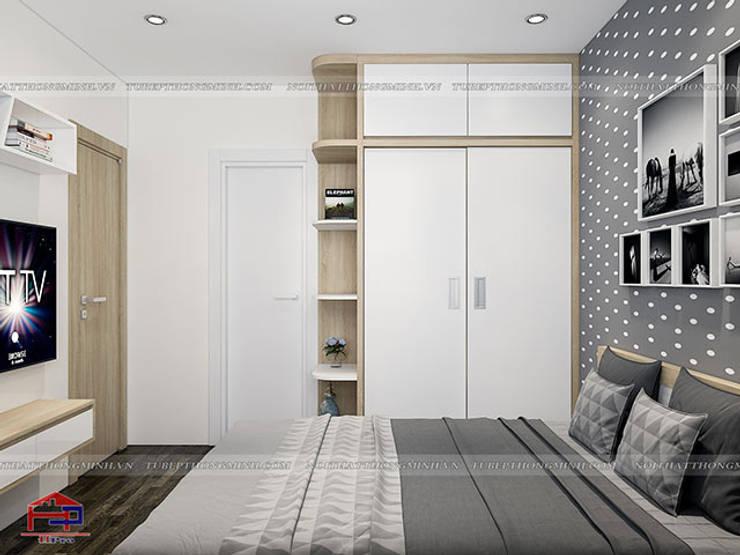 Ảnh 3D thiết kế nội thất phòng ngủ master gỗ công nghiệp melamine An Cường nhà anh Thư ở HD Mon - view 2:  Bedroom by Nội thất Hpro