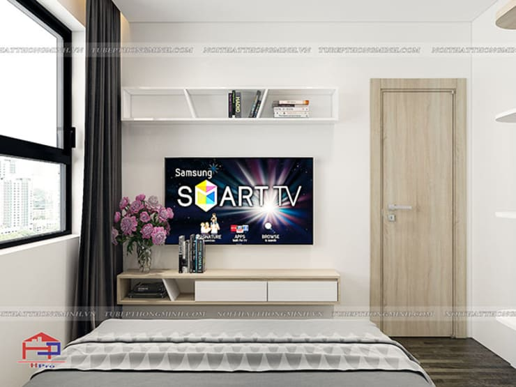Ảnh 3D thiết kế nội thất phòng ngủ master gỗ công nghiệp melamine An Cường nhà anh Thư ở HD Mon - view 3:  Bedroom by Nội thất Hpro