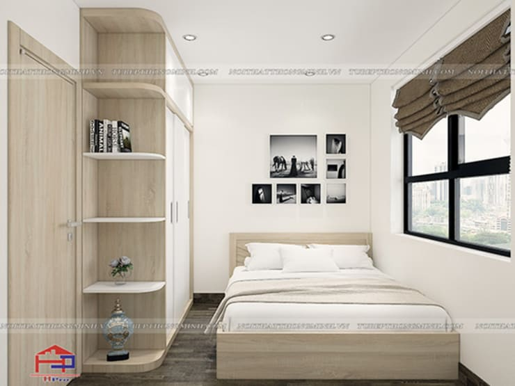 Ảnh 3D thiết kế nội thất phòng ngủ ông bà nhà anh Thư ở HD Mon:  Bedroom by Nội thất Hpro