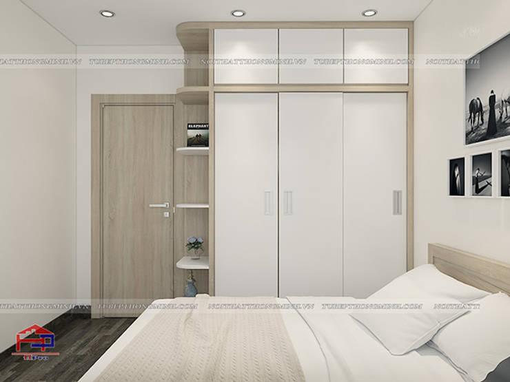 Ảnh 3D thiết kế nội thất phòng ngủ ông bà nhà anh Thư ở HD Mon - 2:  Bedroom by Nội thất Hpro