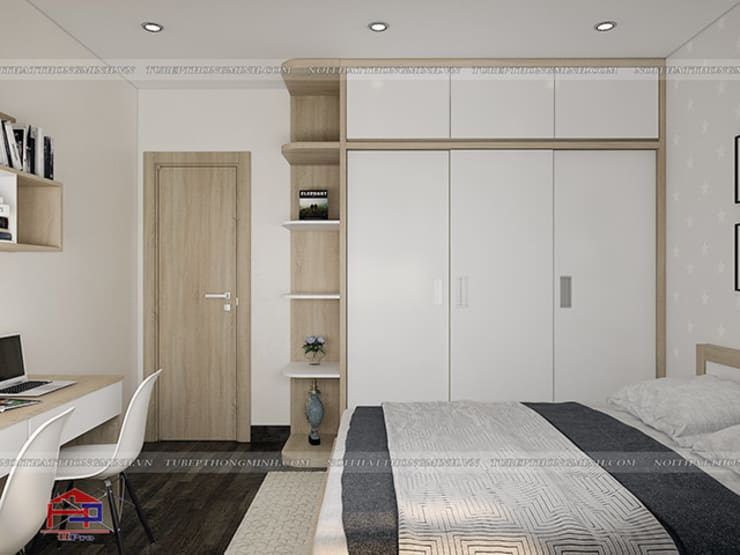 Ảnh 3D thiết kế nội thất phòng ngủ cho bé nhà anh Thư ở HD Mon - view 2:  Bedroom by Nội thất Hpro