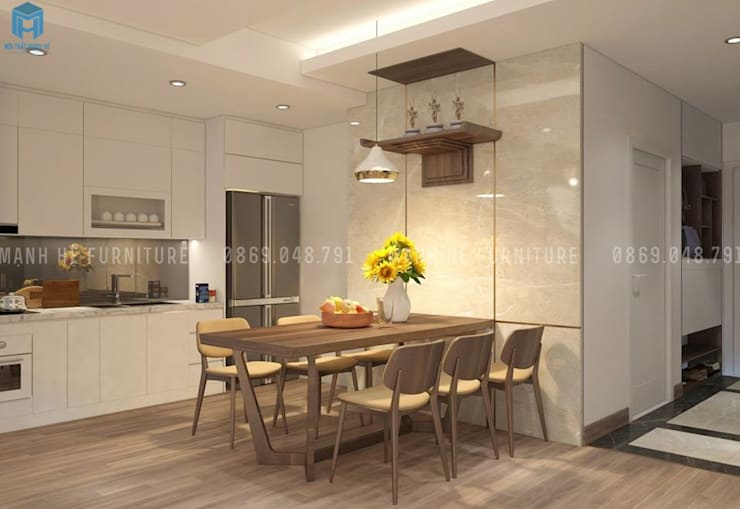 thiết kế nội thất chung cư:  Phòng ăn by Công ty TNHH Nội Thất Mạnh Hệ