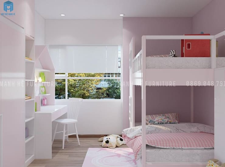 thiết kế nội thất chung cư:  Phòng ngủ by Công ty TNHH Nội Thất Mạnh Hệ