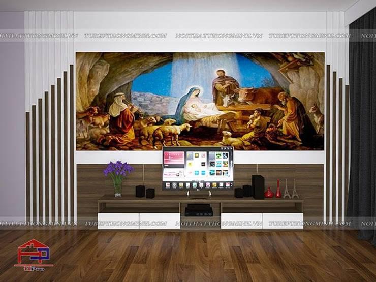 Ảnh 3D thiết kế nội thất phòng khách nhà anh Năng ở Nam Định:  Living room by Nội thất Hpro