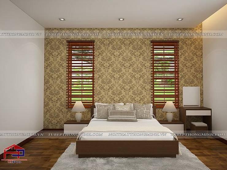 Ảnh 3D thiết kế nội thất phòng ngủ master nhà anh Năng ở Nam Định:  Bedroom by Nội thất Hpro