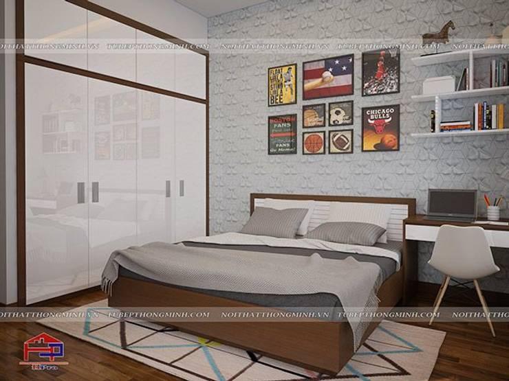 Ảnh 3D thiết kế nội thất phòng ngủ bé trai gỗ melamine nhà anh Năng ở Nam Định:  Bedroom by Nội thất Hpro
