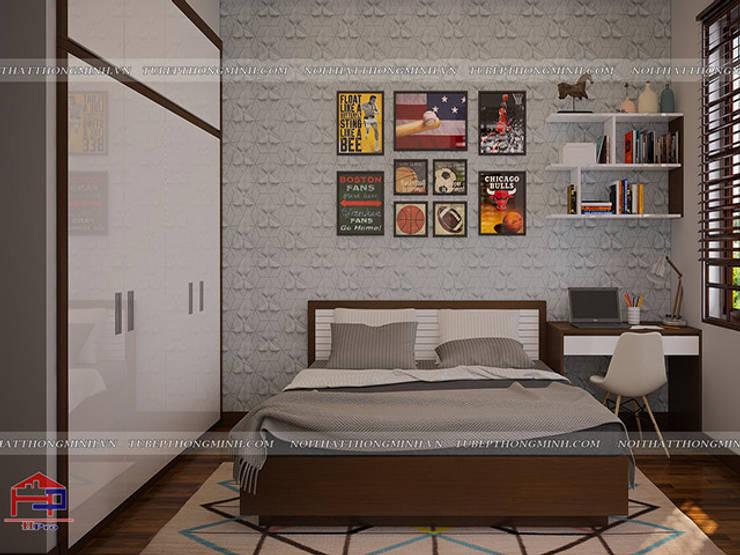 Ảnh 3D thiết kế nội thất phòng ngủ bé trai nhà anh Năng ở Nam Định - view 2:  Bedroom by Nội thất Hpro