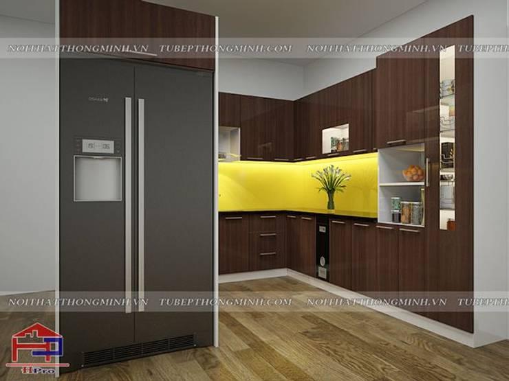 Ảnh thiết kế 3D tủ bếp acrylic nhà chị Giang ở Quảng Ninh:  Kitchen by Nội thất Hpro