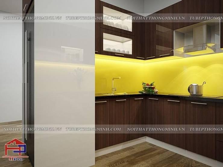 Ảnh thiết kế 3D tủ bếp acrylic bóng gương nhà chị Giang ở Quảng Ninh:  Kitchen by Nội thất Hpro