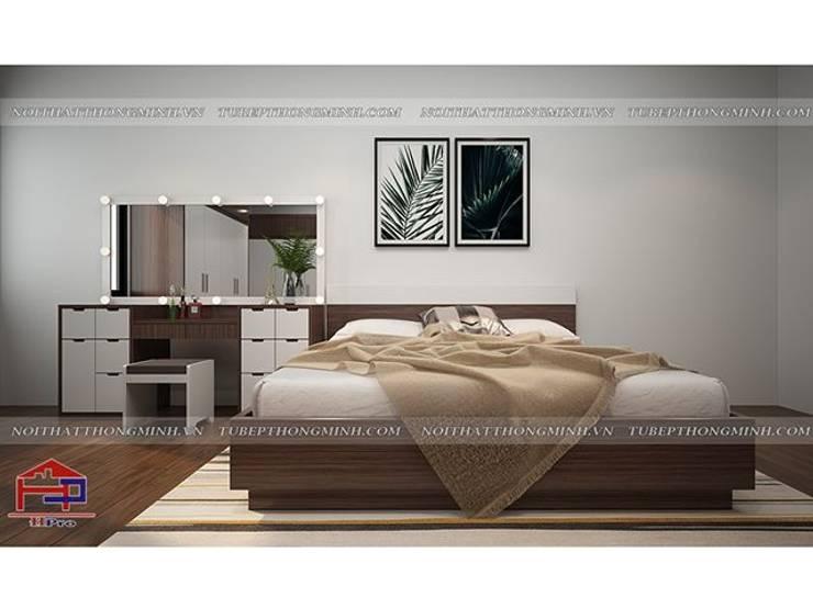 Ảnh 3D thiết kế nội thất phòng ngủ master nhà chị Giang ở Quảng Ninh:  Bedroom by Nội thất Hpro